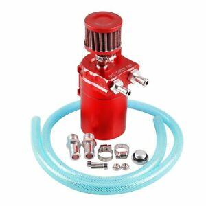 Universal Aluminum Oil Catch Tank Catch Reservoir Car Can Breather Kit Red Max