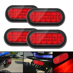 4pcs Led Red 6 4 Trailer Truck Lights Oval Stop Turn Tail Light Marine