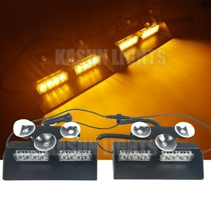 16 Led 2in1 Amber Emergency Warning Flash Dash Strobe Sucker Windshield Light Us