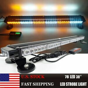 38 78 Led Amber white Traffic Advisor Emergency Warning Flash Strobe Light Bar