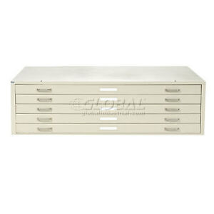 Interion Blueprint Flat File Cabinet 5 Drawer 47w Putty