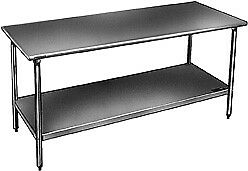 Stainless Steel Bench With Galvanized Legs And Shelf T3036eb W X D X H 36x30x