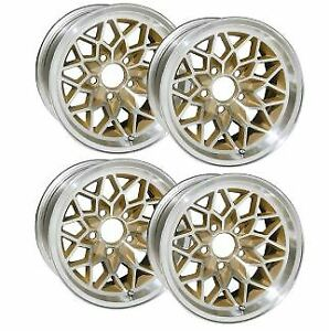 15 X 8 Cast Aluminum Snowflake Wheels With Painter Gold Centers Set Of 4