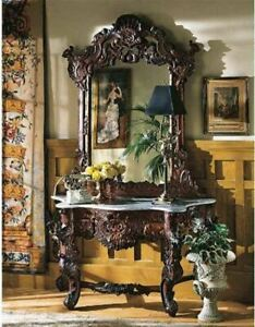Antique Replica Hand Carved Mahogany Hapsburg Empire Console Table