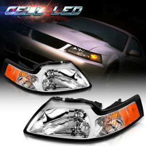 Chrome Housing Headlights W Amber Corner Signal Reflector For 99 04 Ford Mustang