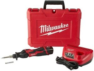 Milwaukee Soldering Iron Kit M12 12 volt Lithium ion 1 5ah Battery Charger Case