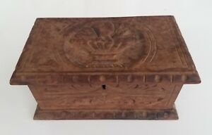 Antique Formal Hand Carved Fine Unusual Wood Box Hand Forged Metal Work W Lock