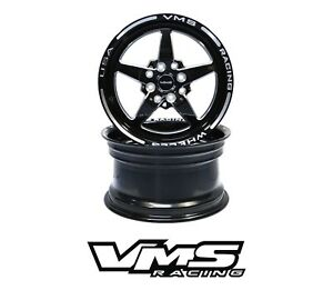 X2 Vms Racing 5 Spoke 13x9 Black Import Drag Rims Wheels 4x100 4x114 Et0 Pair