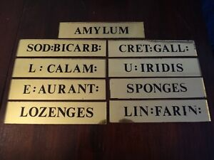 24k Gold Reverse Painted Glass Mirror Apothecary Medical Cabinet Drawer Signs