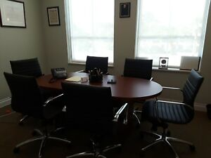 72 Round Conference Room Table With Six Black Leather Swivel Mid Back Chairs