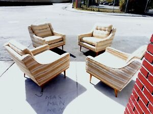 4 Stylish Mid Century Modern Lounge Chairs Attributed To Paul Mccobb