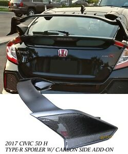 For 17 18 Honda Civic Hatchback Type R Style Rear Spoiler Wing carbon Side Panel