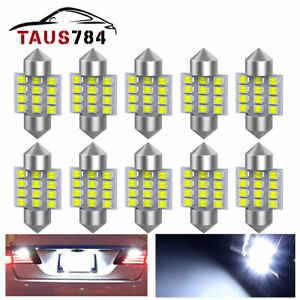 8x 31mm 12smd Festoon Led 7000k White Dome Interior Light Bulb De3021 3022 3175
