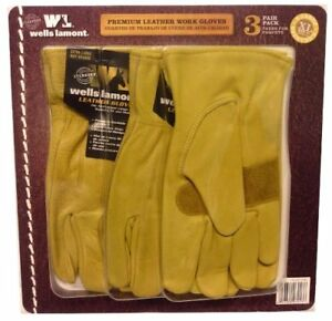 Wells Lamont Premium Leather Work Gloves 3 Pair X large gree Shipping new