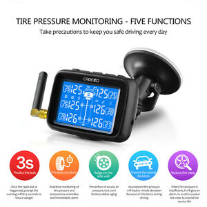 Tpms Tire Tyre Pressure Monitoring System 6 Tire Pressure Sensors Lcd Car Truck
