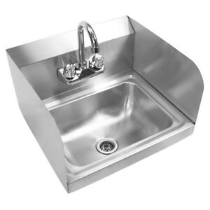 17 Kitchen Stainless Steel Wall Mount Hand Sink With Side Splashes And Faucet