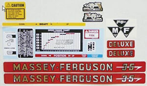 Massey Ferguson Mf 35 Deluxe Hood Decal Set