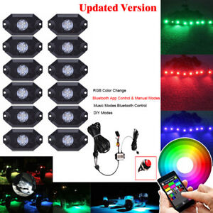 12pcs Waterproof Rgb Led Rock Light Pods Off road Strobe Flash Deck Trucks Lamp