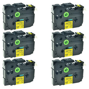 6pk Tze641 Tz641 Black On Yellow Label Tape For Brother P touch Pt e300 18mm X8m