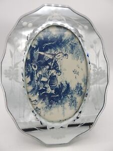 Vintage Venetian Glass Mirror Picture Frame Etched Oval Beveled Edge