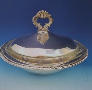 Silverplate Covered Vegetable Casserole Dish W Gadroon Edge Pyrex Bowl