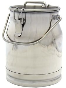 2 6 Gal Stainless Steel Milk Can Heavy Duty With Strong Sealed Lid 10 Qt