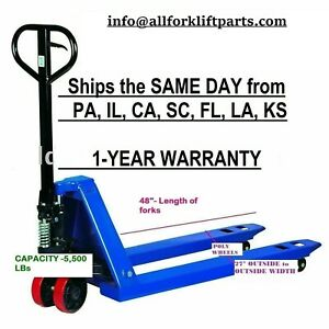 Pallet Jack Hand Truck 5500 Lbs 27 X 48 New 1 year Warranty Free Shipping