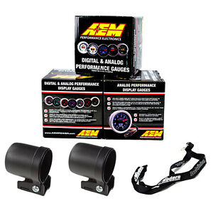 Aem 52mm Gauge Kit Afr Wideband Oil Pressure Boost 30 35 W Mounting Cups