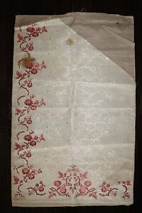 French Antique 18thc Brocaded Silk Fabric L30 X W 22 Selvage To Selvage