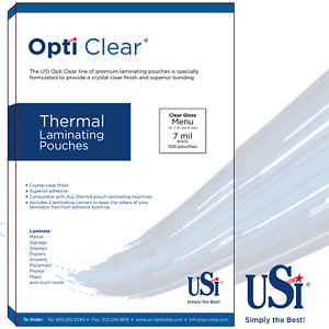 Opti Clear Thermal hot Laminating Pouches Menu Size 7 Mil 12x18 100 Pouches