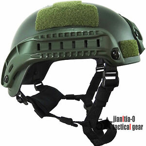 Green MICH2001 Helmet for Airsoft Simplified  0.7 Kg Airsoft Shroud Side Rail