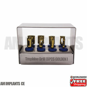 Dental Implant Trephine Drills Kit Set Of 2 Blue Titanium Coated