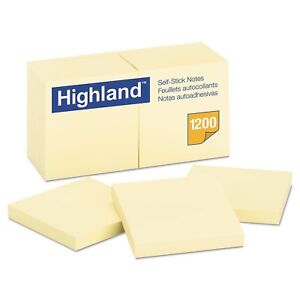 New Office Yellow Self Stick 3 X 3 Sticky Post It Notes 100 Sheets X12 Note Pads