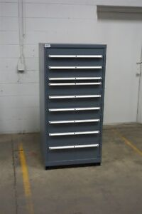 Used Lista 9 Drawer Cabinet Industrial Tool Storage Bin 1216 Vidmar