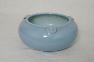 Chinese Monochrome Blue Glaze Porcelain Brush Washer With Mark M2471