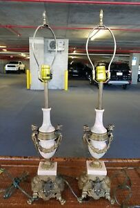 Pair Of Vintage 20th C Marble And Bronze Louis 16th Angel Lamps