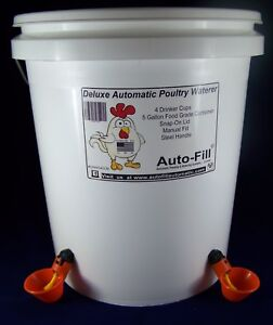 Manual Fill Automatic Waterer 4 Drinker Cup Chicken Poultry Hen Coop Bird 5 Gal