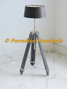 Royal Vintage Wooden Tripod Floor Lamp Transit Grey Tripod Old Style Floor Lamp