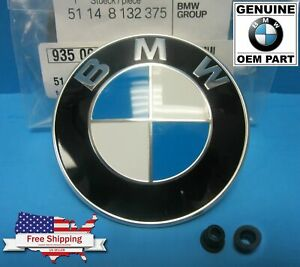 Genuine Bmw Hood Emblem Roundel With Grommets Included 82mm Oem 51148132375