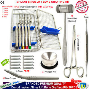 Medentra Implant Bone Grafting Sinus Lift Osteotome Scraper Bone Mallet Kit Ce