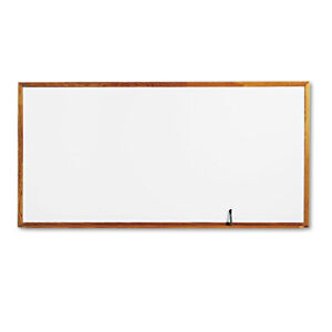 Classic Melamine Whiteboard 96 X 48 Oak Finish Frame