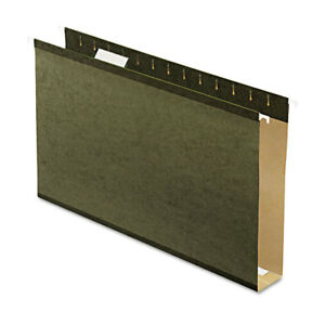 Reinforced 2 Extra Capacity Hanging Folders Legal Standard Green 25 box