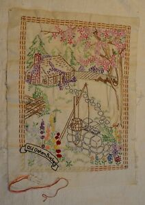 Antique 18 X 13 1 2 Hand Embroidered Picturesque Log Cabin Country Scene