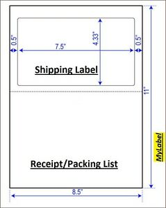 800 Half Sheet Shipping Label W Receipt