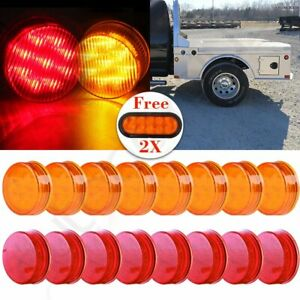 16x 2 5 Round Red 13led Light Trailer Side Marker Lamp Free 6 Stop Tail Light