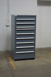 Used Lista 9 Drawer Cabinet Industrial Tool Parts Storage Bin 1221 Vidmar