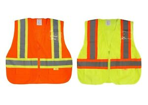 50pcs Class 2 High Visibility Two Tone Safety Vest W Front back Strips Pockets