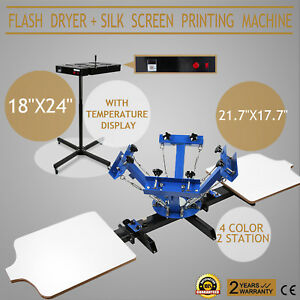 4 Color Screen Printing 2 Station Kit 18x24 Flash Dryer Printer Pressing Print