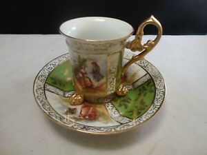 Footed Cup Saucer Portrait Demitasse Porcelain Gold Gilt Made In Germany
