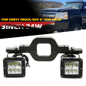 Fit Chevy Silverado 1500 2500 3500 Backup Reverse Tow Hitch 24w Led Light Bar